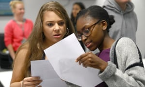 Students compare results at Stoke Newington school in north London