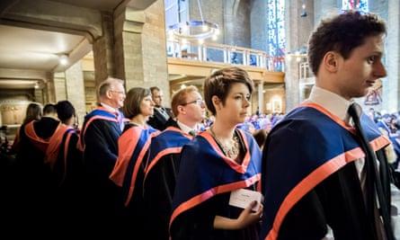 Students at a graduation ceremony at St Mary's University