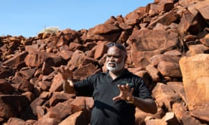 Murujuga Aboriginal Corporation chief executive Peter Jeffries, a senior law man for the Burrup, at Deep Gorge, which is both the most public site and a men's site.