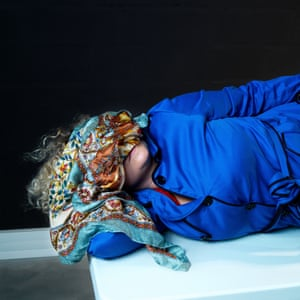 Untitled, from It's Getting Dark. Agnes arrived at the shoot wearing a blue trench coat and carrying a fake Hermès scarf to cover her eyes