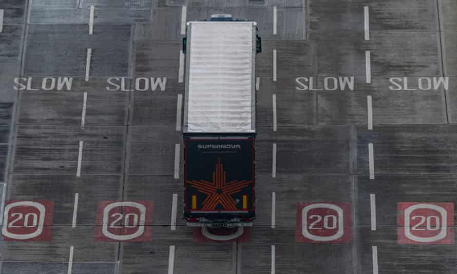 A lorry waiting at Dover port on New Year's Day, the first day after the Brexit transition ended.