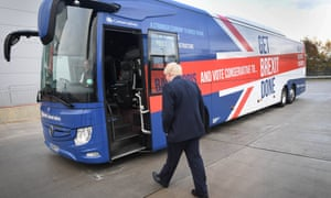 Boris Johnson at the unveiling of the Conservative Party battle bus in Middleton, Greater Manchester