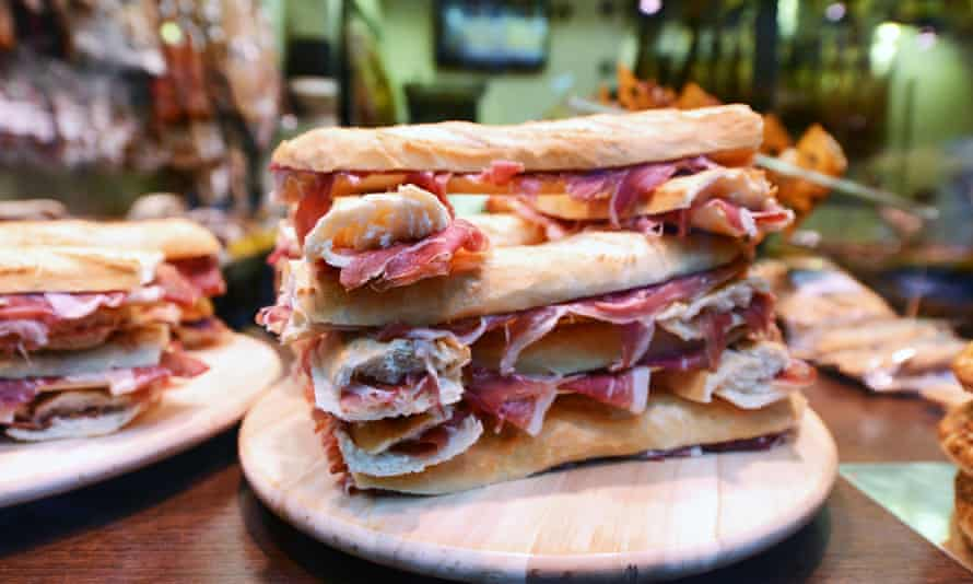 Basque bocadillo de jamon serrano, a serrano ham sandwich