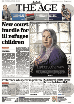 Front page the Age 25 October 2018
