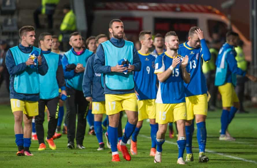 The Kosovo national team after their competitive debut against Finland.