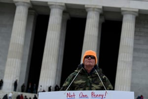 A protester in Washington on the 22nd day of the US government shutdown.