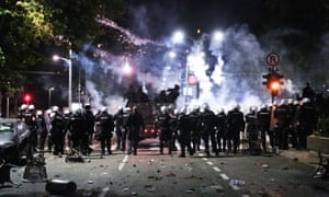 Police respond to the protests in Belgrade