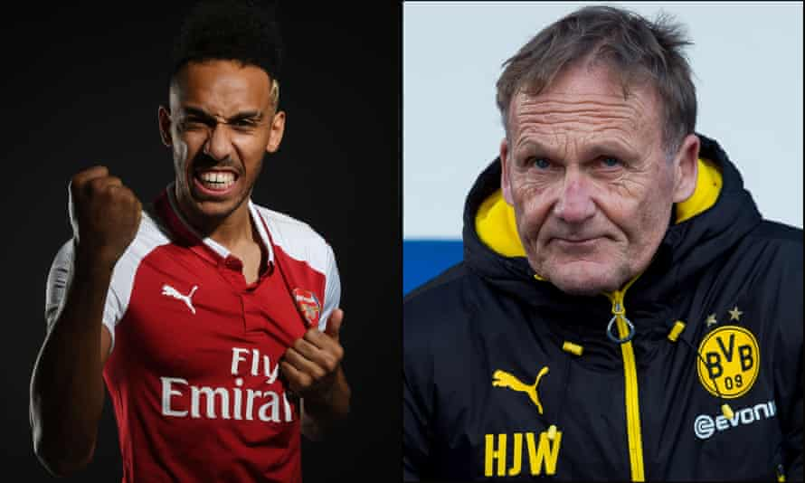Pierre-Emerick Aubameyang (left) has clashed with the Borussia Dortmund CEO, Hans-Joachim Watzke, over the reason the forward left the Bundesliga club in January 2018.