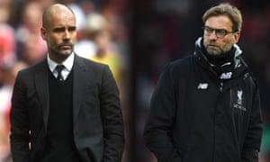 Pep Guardiola, left, has four wins to Jürgen Klopp's five in their meetings across Bundesliga and Premier League.