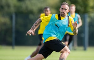 Paco Alcacer during a Borussia Dortmund training session.