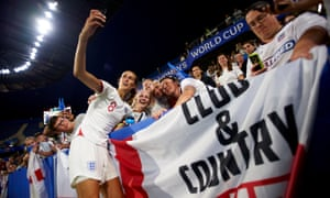 Jill Scott takes a selfie with England fans after the victory over Norway.