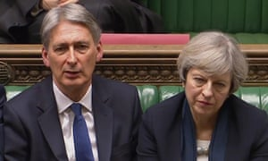 Theresa May and her chancellor, Philip Hammond in the Commons