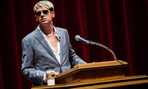 Milo Yiannopoulos giving a speech at Trinity University, San Antonio.