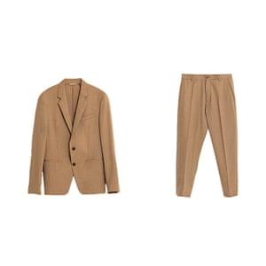 Tan blazer and trousers from Zara