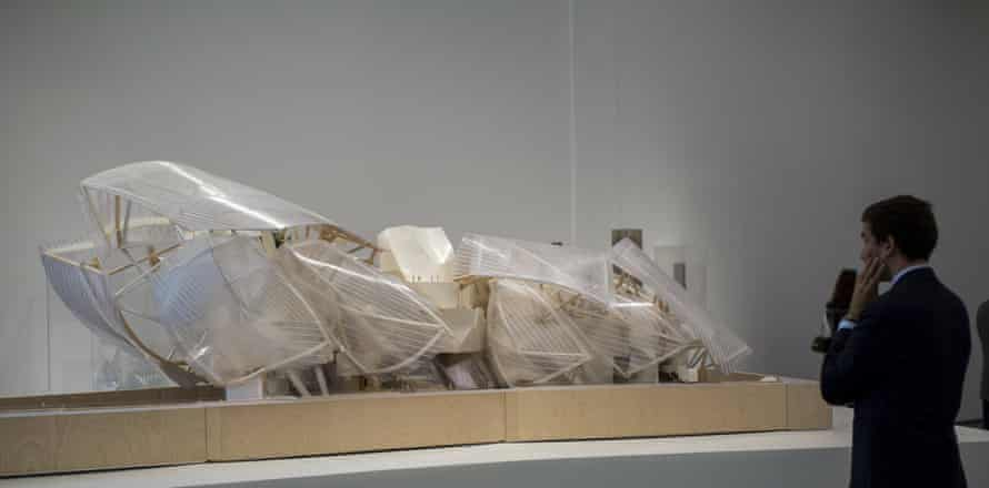 A scale model of the Foundation Louis Vuitton Museum in Paris.
