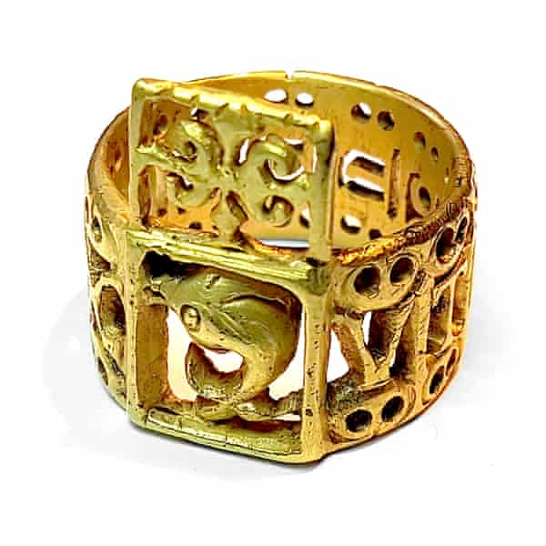 An openwork ring of vaguely Roman style, but made the wrong way for the period.