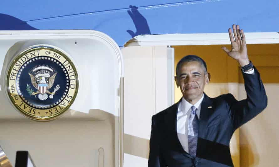 President Obama arrives at Stansted airport