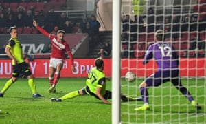 Josh Brownhill scores the only goal of the game for Bristol City against Huddersfield.