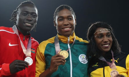 Women's 800m winner Caster Semenya of South Africa (centre), flanked by silver medallist Margaret Nyairera Wambui of Kenya and Natoya Goule of Jamaica at the 2018 Commonwealth Games.