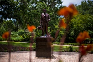 A Denmark Vesey monument is seen in Hampton Park in Charleston, South Carolina. Denmark Vesey was founder of Emanuel AME church who attempted to lead a slave rebellion in Charleston.