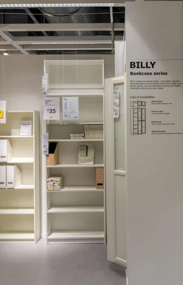 Self-assembly flatpack Billy bookcases for sale in a branch of Ikea.