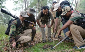 Indian forestry officials count dung density during a wild elephant census in the Mahananda wildlife sanctuary in West Bengal
