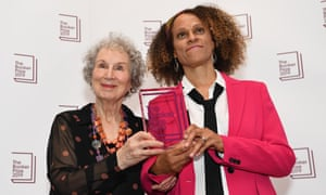 Booker prize-winners Margaret Atwood, left, and Bernardine Evaristo, October 2019.