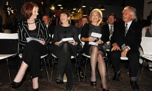 The former Australian prime ministers Julia Gillard, far left, and Bob Hawke, far right, with Louise Adler and Hawke's wife, Blanche D'Alpuget