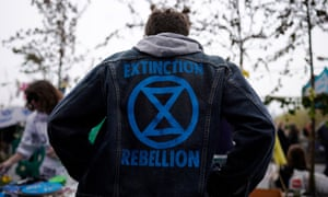 Protesters from the Extinction Rebellion campaign group on Waterloo Bridge, Central London, Britain, 16 April 2019.