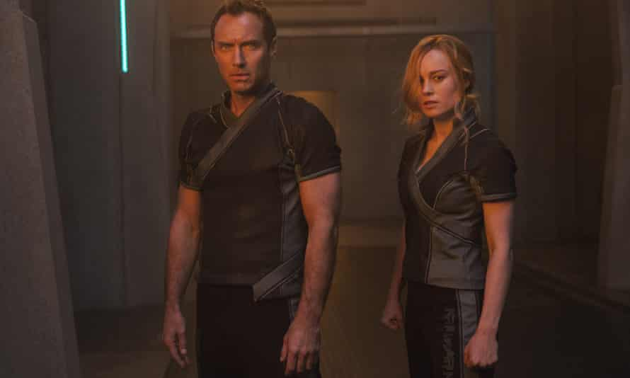 Radically platonic ... Jude Law as Yon-Rogg and Brie Larson as Carol Danvers in Captain Marvel.