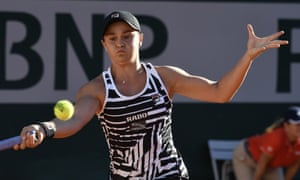 Ashleigh Barty of Australia playing against Andrea Petkovic of Germany during their women's third round match during the French Open tennis tournament at Roland Garros in Paris.