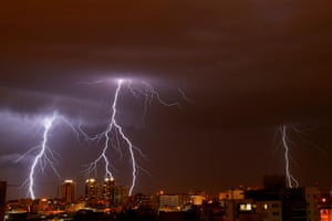 Lightning illuminates the sky in Netanya, Israel
