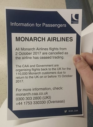 In this image provided by Simon Stirrat, a notice for Monarch Airlines passengers is seen at London's Gatwick Airport.