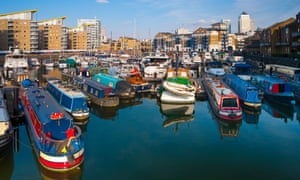 Limehouse Basin and Canary Wharf beyond, London.