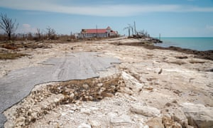 The foundation of a destroyed home in High Rock, in the remote centre of Grand Bahama.