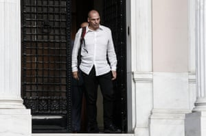 Greece's Finance Minister Yanis Varoufakis leaves the Greek Prime Minister's office after a cabinet meeting in Athens, Greece, on Sunday, June 21, 2015. A day ahead of a crucial emergency eurozone summit, European leaders renewed efforts to reach a deal between Greece and its creditors that would allow the debt-ridden country to avoid a default and a potentially disastrous exit from the euro. (AP Photo/Yorgos Karahalis)