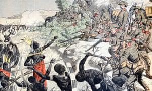 A painting depicts German soldiers shooting Herero people in 1904.