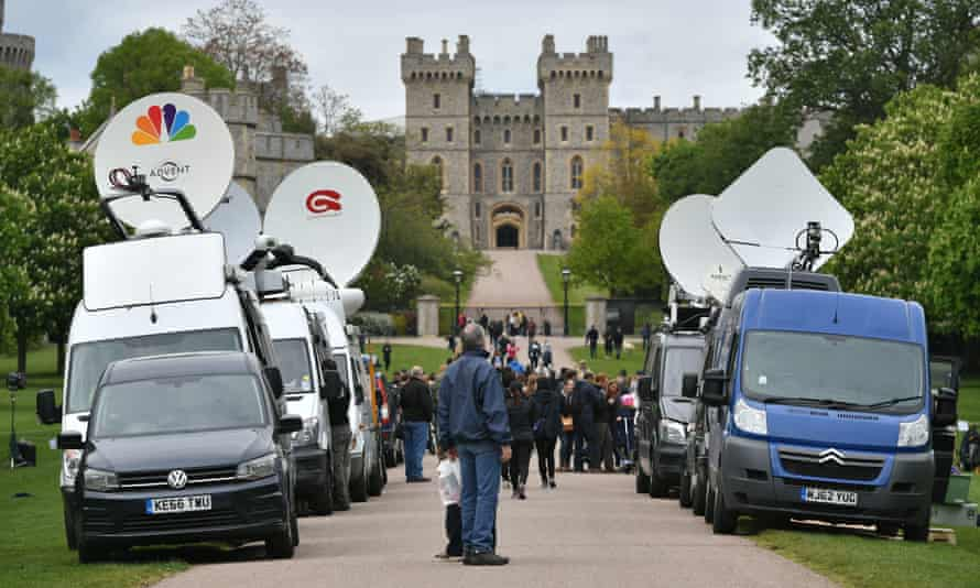 Television crews work outside the Long Walk, Windsor Castle, following the news of the birth
