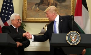 Donald Trump with Palestinian president Mahmoud Abbas in Washington in May.