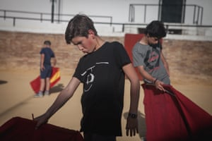 Classes in Venta de Antequera in Seville. Boys during bullfight classes learn how to move and how to behave like a bullfighter