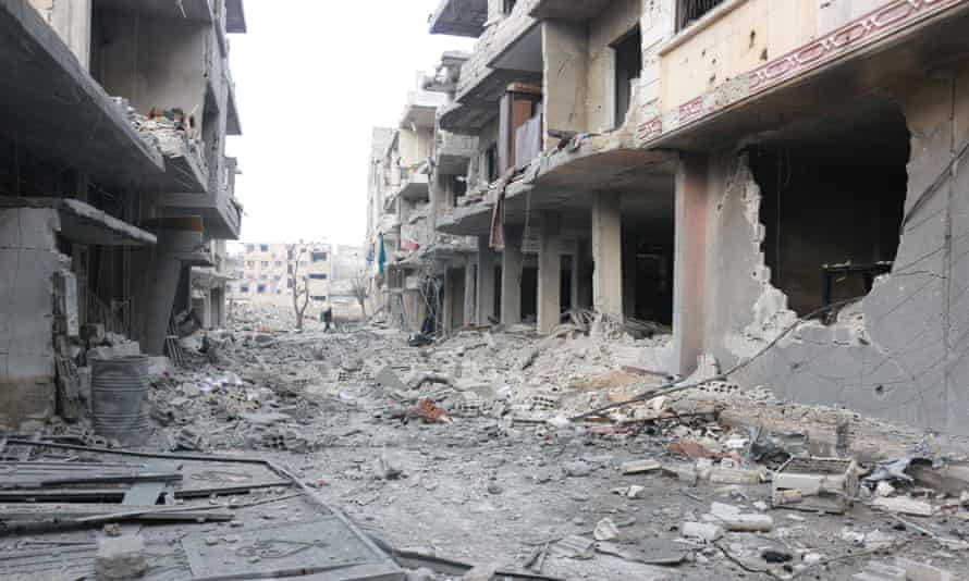 Buildings in eastern Ghouta damaged by Assad regime airstrikes in recent days