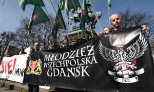 Far-right activists in Gdańsk protest against immigration