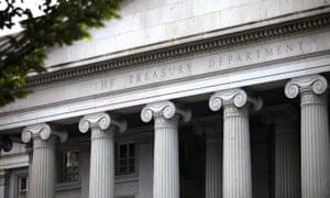 The US Treasury building in Washington DC.