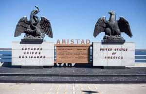 Sculptures on the international boundary at Amistad reservoir on the US/Mexico border near Ciudad Acuña