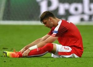 Aleksandar Dragovic looks dejected at the end of the Iceland match at Stade de France on June 22nd 2016 in Saint-Denis, France.