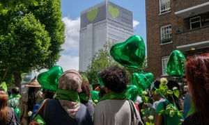 Friends and families of victims of Grenfell fire marching to the site of the disaster