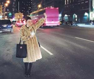 Terri White, Hailing a cab outside of the office of Time Out New York, Midtown, January 2015