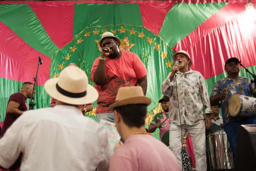 Musicians from the Mangueira samba school perform one of the songs composed for this year's Carnival at a rehearsal on Jan. 25, 2020.