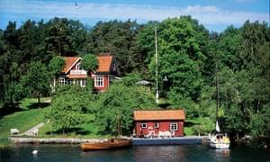 Holiday houses on Hästholmen (also known as Stegesund-Hästholmen), Stockholm archipelago, Sweden.
