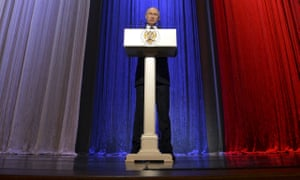 President Putin speaks during an event celebrating 'security agency workers' day' in Moscow.